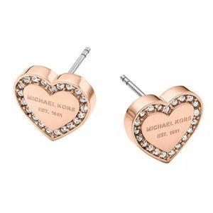 Michael Kors Rose Gold Heart Crystal Stud Earrings